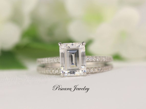 Emerald Cut Engagement Ring Wedding Ring Set Cubic Zirconia
