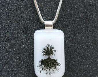 Sterling Silver and Fused Glass Pendant_ Tree of Life