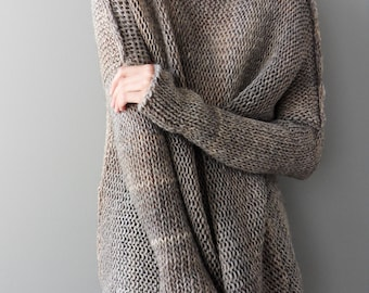 Alpaca Oversized  Slouchy sweater. Chunky knit tunic. Thumb holes sweater. Made to order.