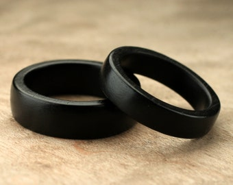 Custom Matching Ebony Wood Rings - 7mm & 5mm