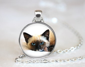 Siamese Cat Glass Pendant/Necklace/Keychain