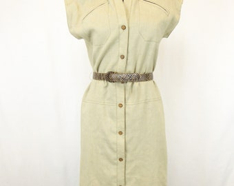 80s Linen Dress, Women's Size 6, Willi of California, Beige/Tan Linen, Belted Sleeveless Dress, Button Up Dress, Poly Flax Blend