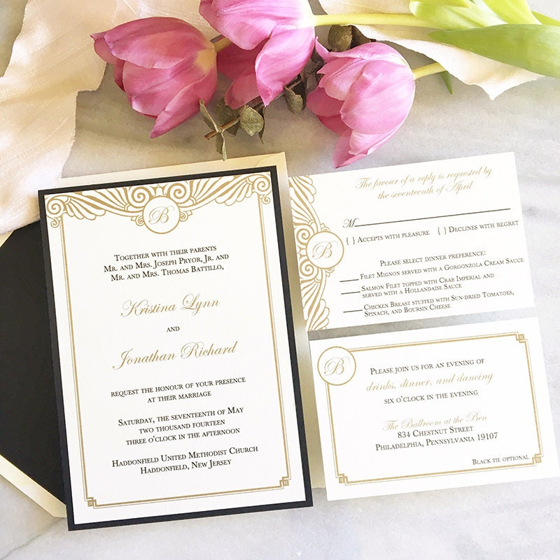 Vintage Glam Wedding Invitations: Art Deco Wedding Invitation Vintage Glam Wedding Invitation