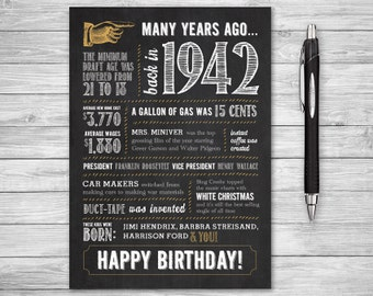 5x7 - 76th Birthday, Printable Folding Greeting Card, Many Years Ago Back in 1942, Instant Digital Download, DIY Print at Home, Chalk