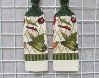 Pair of Garden Vegetables Button On Hanging Towels