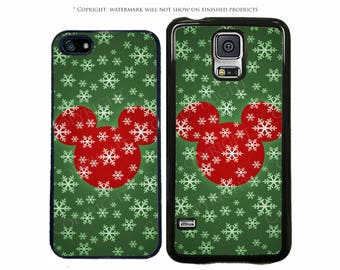 Disney Christmas Mickey Mouse Snowflake Phone Case for Apple iPhone 7, X, iPhone 8, Galaxy S8, S8 Plus, S7, S7 Edge, LG, Pixel, XL, Note 8