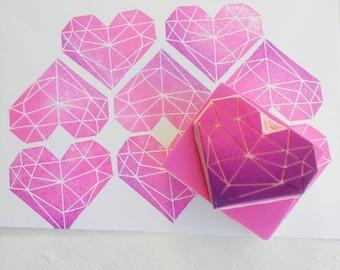 Geometric Stamp, Heart Stamp, Crystal stamp, Gem stamp, Diamond Stamp, Hand Carved Rubber Stamp, Gift for Her, Scandi Lover Gift