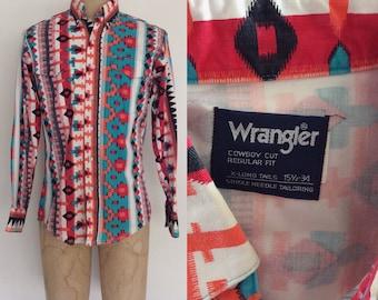 1980's Men's Wrangler Vibrant Western Button Up Vintage Denim Shirt Size Small Medium by Maeberry Vintage