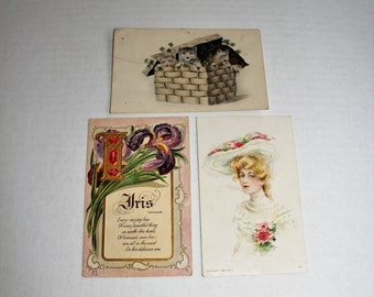 3 Antique Postcards Kittens Victorian Woman Flowers 1910s
