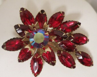 Gorgeous Vintage 60's JULIANA Ruby Red Rhinestone Pin Brooch