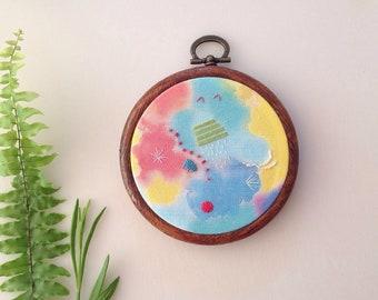 Abstract Embroidered Hoop - handmade gift -gift - modern Wall hanging - hanging hoop - watercolour - hoop - modern design - original art
