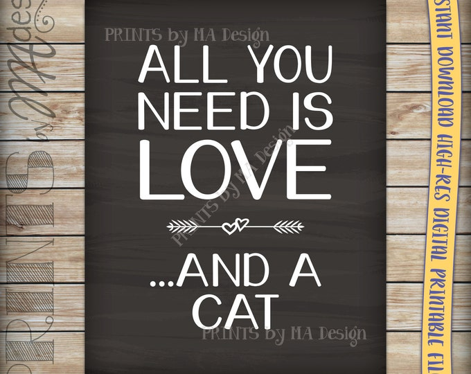 All You Need Is Love and a Cat Chalkboard Sign, Instant Download Digital Printable File