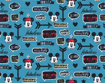 Disney Fabric-Disney Mickey Mouse and Minnie Mouse Icons Blue Fabric From Springs Creative