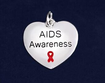 AIDS Awareness Ribbon Heart Charm in a Bag (1 Charm - RETAIL) (RE-C-B01-6AI)