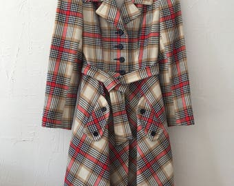 Vintage Plaid Trench Coat