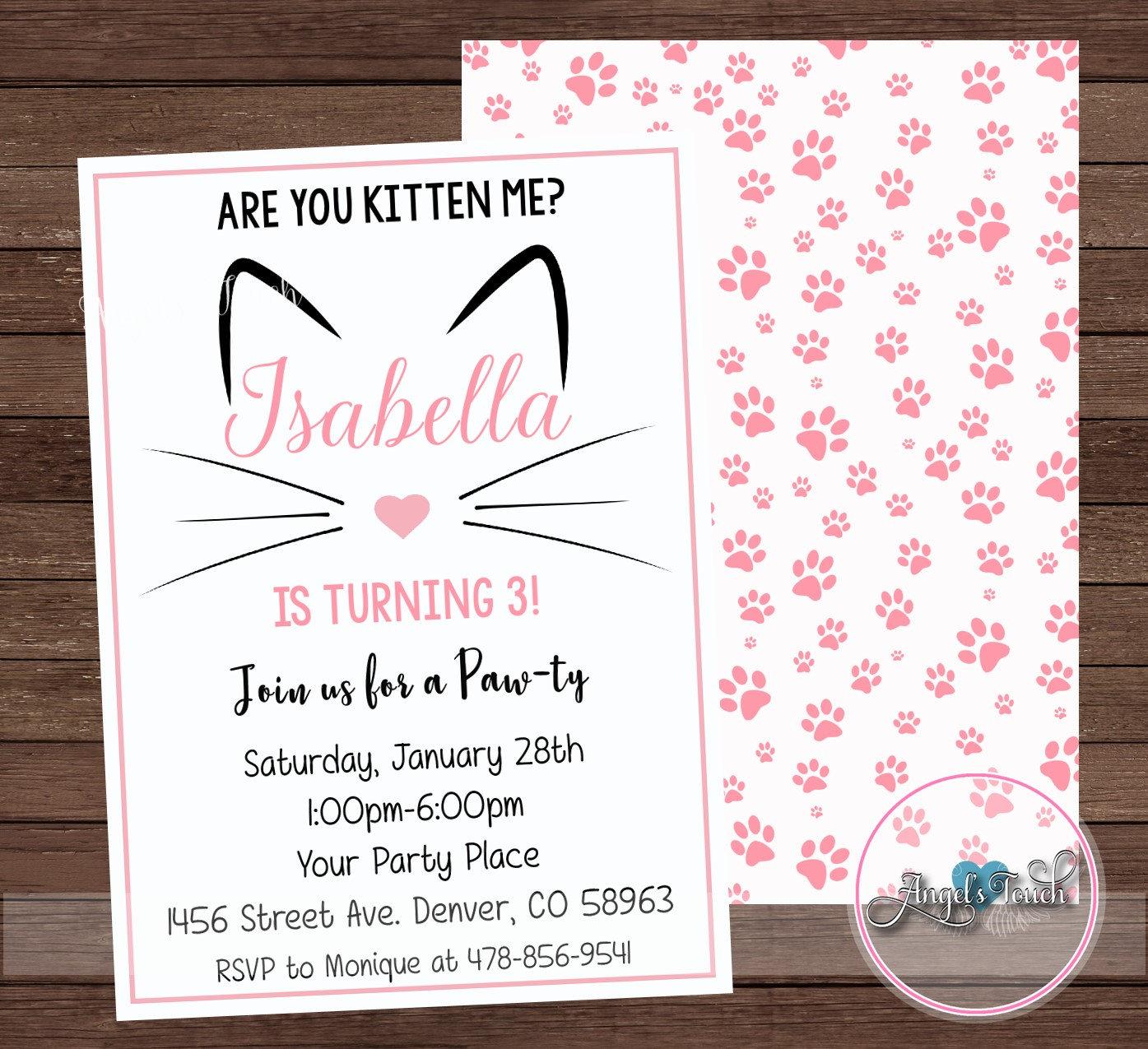 Kitty Party Invitation, Kitty Birthday Invitation, Cat Birthday ...