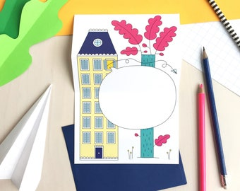 House unfolding greeting card