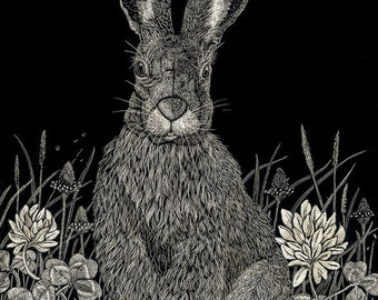 Hare in Clover Blank Card from original scraperboard design
