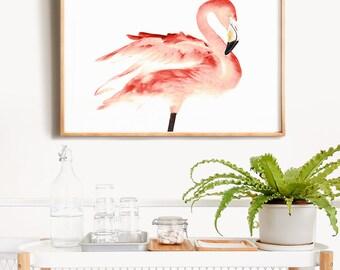 Flamingo PRINTABLE art, Tropical decor, Flamingo print, Pink wall art, Flamingo decor, Bird prints, Nursery wall art, Animal prints, Trendy