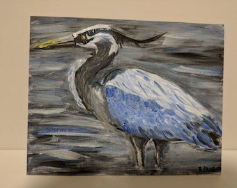 "Blue Heron Original Oil Painting 8""x10"""