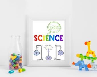 Cute Science Preschool Wall ArtBack to SchoolScientist KidsInstant DownloadScience Printable PosterClassroom Decor| Science Art Print|