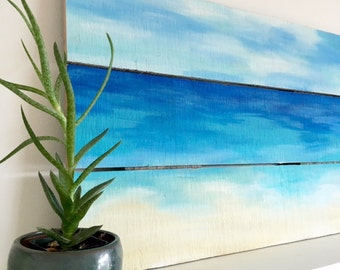 Beach Painting - Ocean Painting - Wood Painting - Coastal Art - Reclaimed Wood Art - Beach Decor - Beach House Art - Wood Art