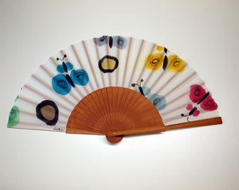 Hand fan Handpainted Silk- Abanico-Wedding gift-Giveaways-Bridesmaids-Spanish hand fan -Butterflies Hand Fan 17 x 9 inches (43 cm x 23 cm)