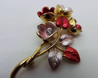 Red and pink floral brooch, vintage brooch golde tone with diamante and enamel