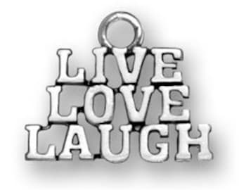 Sterling Silver Live Love Laugh Charm
