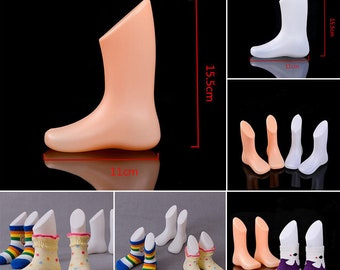 Child Feet Mannequin Hard Plastic Foot Model Shoes Sock Display Nude or White