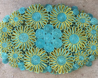 Vintage 1960s Sisal Placemat Daisies Teal Blue and Avocado Green Set of Six