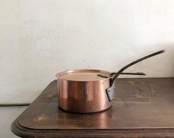Heavy Antique Copper Saucepan / vintage Copper pan / rustic Copper / Vintage Copper / Collectable Copper / Distressed Copper Decoration