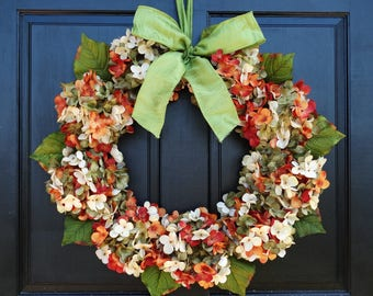 Green, Cream and Orange Rust Marbled Faux Hydrangea Wreath with Bow for Summer Fall Front Door Porch Decor; Small - Extra Large Sizes