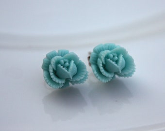 Earrings -- Tiny cabbage roses -- lots of colors