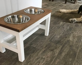 Farmhouse Style Raised Dog Feeder Raised Dog Bowl Stand Elevated Dog Bowl Dog Dish Dog Feeder Pet Bowl Feeding Stand Elevated Dog Bowls