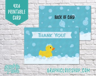 Digital 4x6 Rubber Duck Bubbles Thank You Card - Folded & Postcard | High Res JPG Files, Instant Download, Ready to Print, NOT Editable