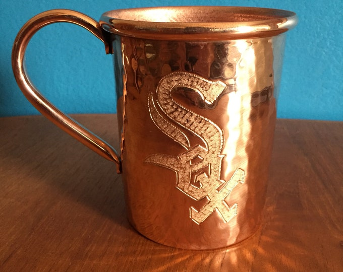 16oz Moscow Mule Hammered Copper Mug w/ Chicago White Sox logo