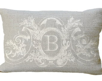 Soft Gray Neutral Fancy Frame  Custom Monogram Burlap Lumbar Oblong in choice of 18x12 20x13 24x16 Pillow Cover