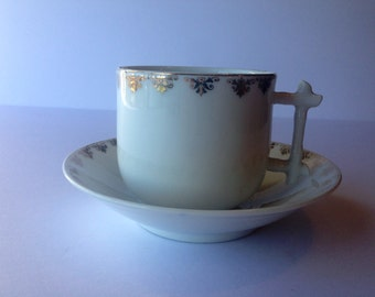 Gold Leaf KPM China Tea Cup and Saucer Germany