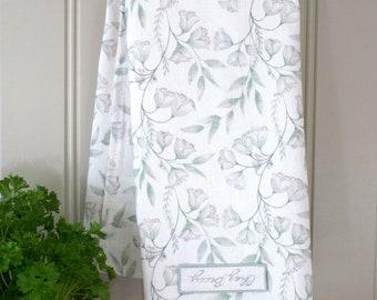 Sage Green Linen Union Damask Floral Tea Towel