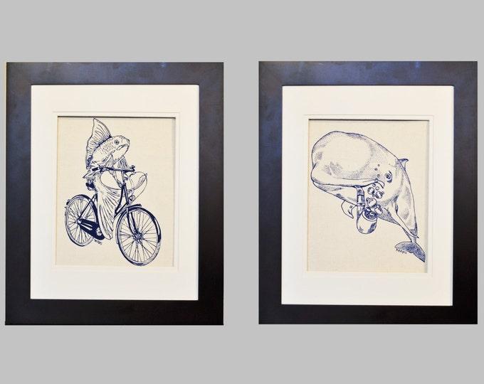 Nautical Wall Art Prints - Nautical Nursery Decor - Screen Printed Cotton Canvas - Blue Wall Decor - Baby Shower Gift - Wedding Gift Idea
