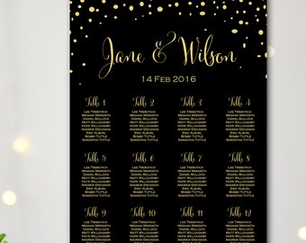 Black Find your Seat Chart, Confetti Wedding Seating Chart, Wedding Seating Poster, Wedding Seating, Wedding Seating Board TG10 Sign WC137