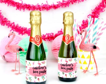 Personalised Tropical Hen Party Bottle Labels Party Accessory for Bridal Showers and Hen Parties
