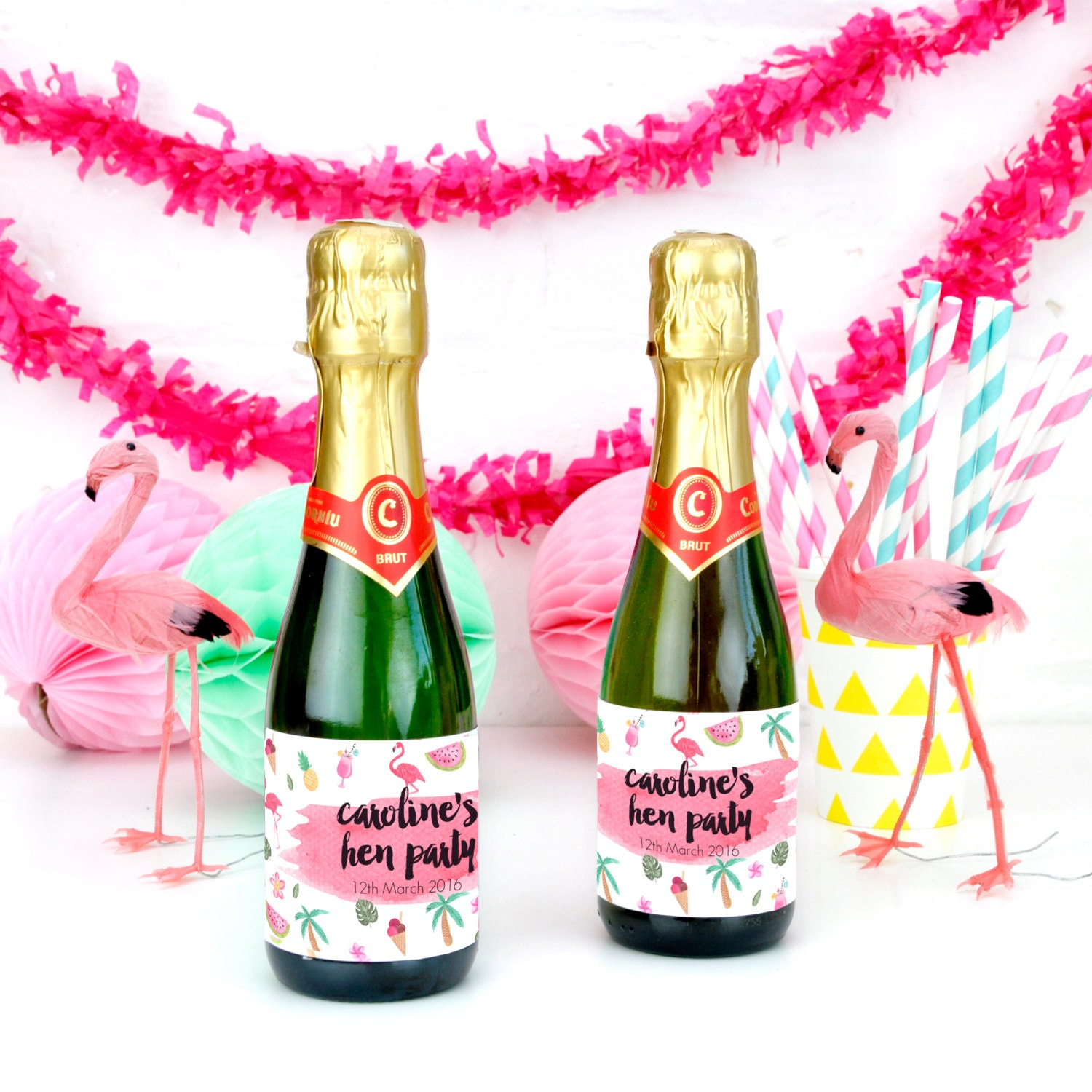 Personalised Tropical Hen Party Bottle Labels Party Accessory