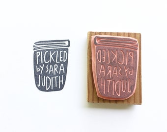Custom stamp, pickled by stamp, canned by stamp, custom name stamp, canning accessories, pickling labels, canning labels, personalized stamp