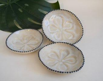 ONE Small Sea Biscuit Shell Dish with Black Dots