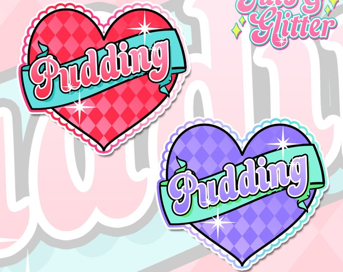 Pudding, Joker / Harley Quinn Style Heart, Choice of Colour Holographic Sticker