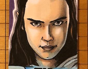 Last Jedi Original Artist Sketch Card: Rey