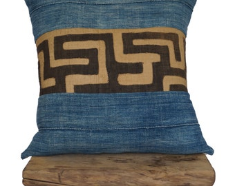 Vintage African Indigo Textile with African Kuba Cloth Stripe Pillow Cover
