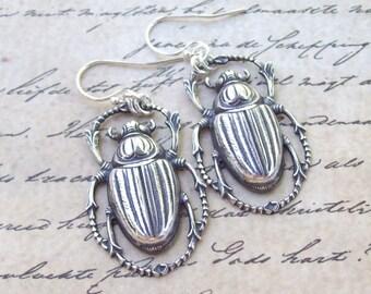 Silver Scarab Earrings, Beetle Earrings, Dangle Earrings, sterling silver, hooks, bug earrings, vintage style, egyptian, silver earrings